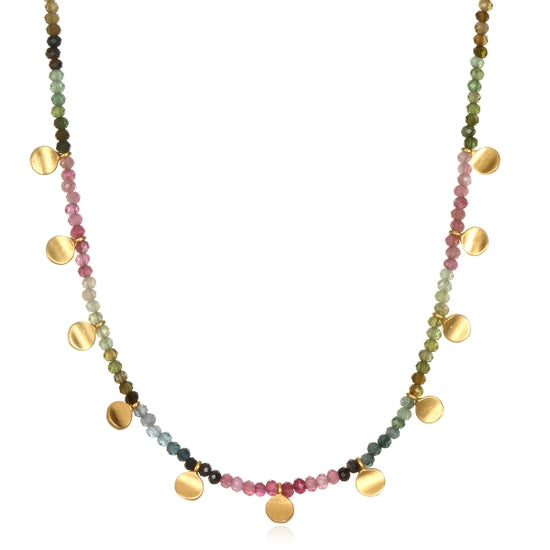 Satya Jewelry Tourmaline Gold Moon Choker Necklace