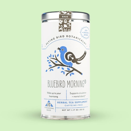 Flying Bird Botanicals Bluebird Morning – 15 Tea Bag Tea Tin