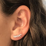 "Sterling Silver White ""Feather"" Cubic Zirconia Ear Climbers - Jewelry - SierraLily"