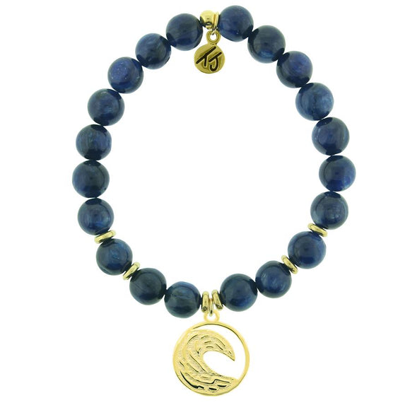 T. Jazelle Gold Collection - Kyanite Stone Bracelet with Wave Gold Charm