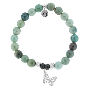 Amazonite Stone Bracelet with Butterfly Sterling Silver Charm - Jewelry - SierraLily