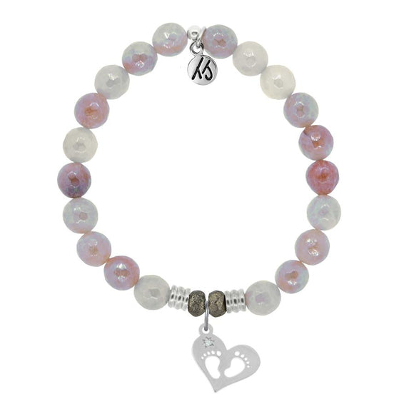 Sunstone Stone Bracelet with Baby Feet Sterling Silver Charm - Jewelry - SierraLily