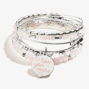 Love you More Charm Bangle Set of 5 Shiny Silver - Jewelry - SierraLily