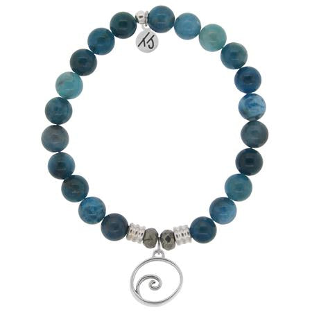 T. Jazelle Arctic Apatite Stone Bracelet with Wave Sterling Silver Charm