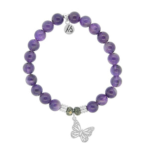 Amethyst Stone Bracelet with Butterfly Sterling Silver Charm - Jewelry - SierraLily