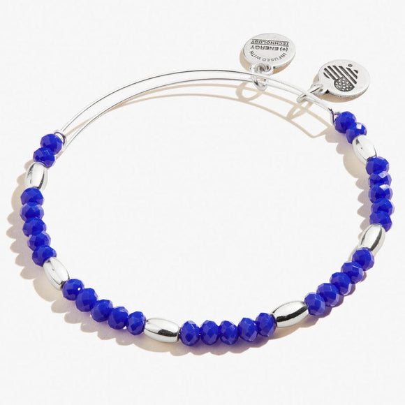 Alex and Ani Royal Blue Balance Bead Bangle Shiny Silver