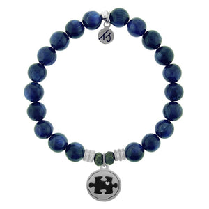 Kyanite Stone Bracelet with Autism Awareness Sterling Silver Charm - Jewelry - SierraLily