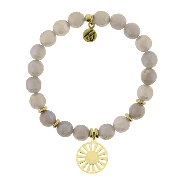 T. Jazelle Gold Collection - Mystic Grey Agate Stone Bracelet with Sun Gold Charm
