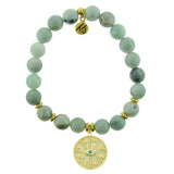 Amazonite Stone Bracelet with Protection Gold Charm - Jewelry - SierraLily