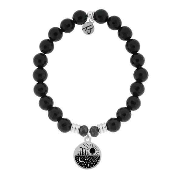 T. Jazelle Onyx Stone Bracelet with Reflect Sterling Silver Charm