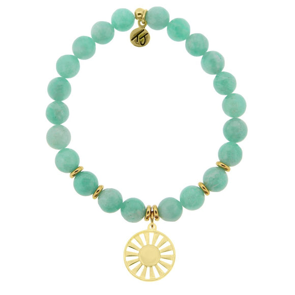 T. Jazelle Gold Collection - Peruvian Amazonite Stone Bracelet with Sun Gold Charm
