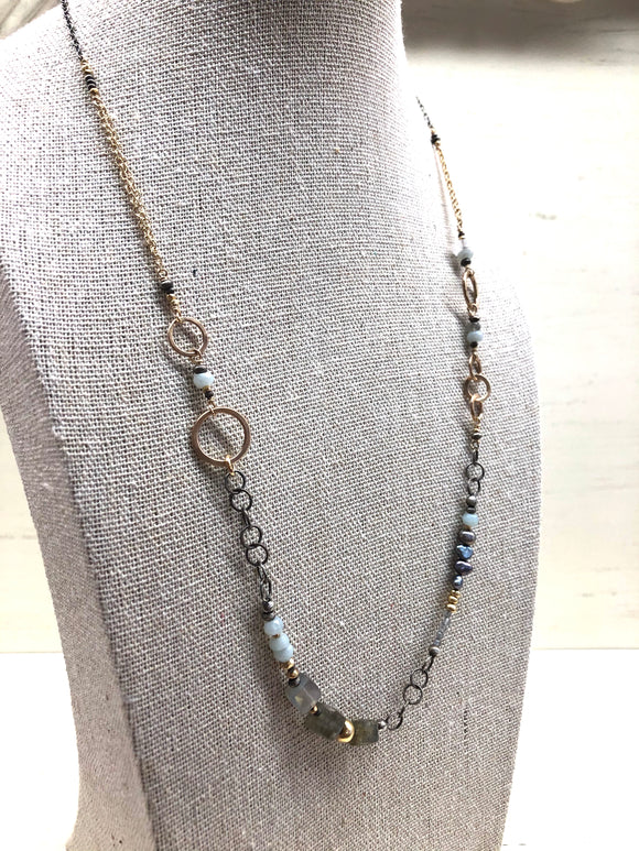 j & i Labradorite, Amazonite, and Fresh Water Pearl Necklace - Jewelry - SierraLily
