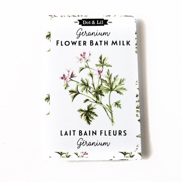Dot & Lil Geranium Bath Milk Sachet