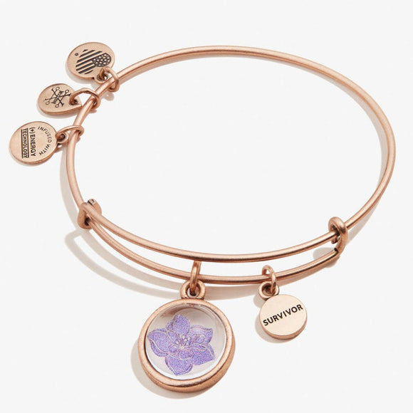 Alex and Ani Wildflower and Survivor Mantra Duo Charm Bangle RAFAELIAN ROSE GOLD