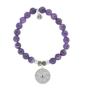 Amethyst Stone Bracelet with Protection Sterling Silver Charm - Jewelry - SierraLily