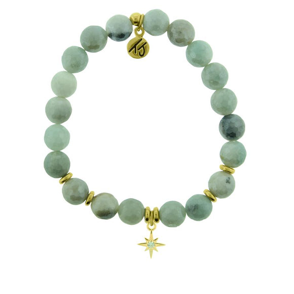 Amazonite Stone Bracelet with Your Year Gold Charm - Jewelry - SierraLily