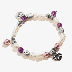 Alex and Ani Wildflower Beaded Charm Stretch Bracelet Shiny Silver