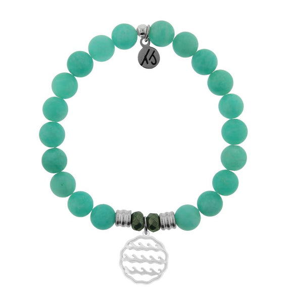 T. Jazelle Peruvian Amazonite Stone Bracelet with Waves of Life Sterling Silver Charm
