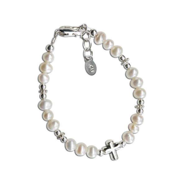 Cherished Moments Sterling Silver Freshwater Pearl Cross Baptism Bracelet