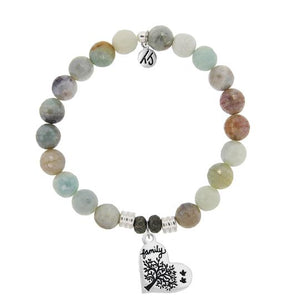 T. Jazelle Amazonite Stone Bracelet with Family Tree Sterling Silver Charm