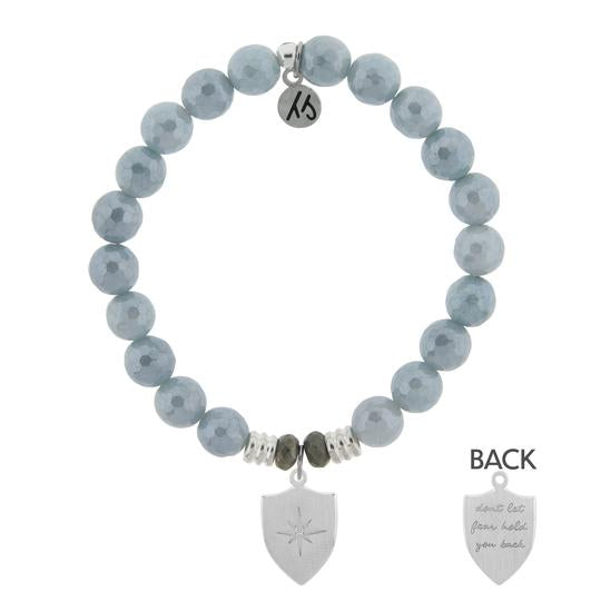 T. Jazelle Blue Quartzite Stone Bracelet with Shield Of Strength Sterling Silver Charm