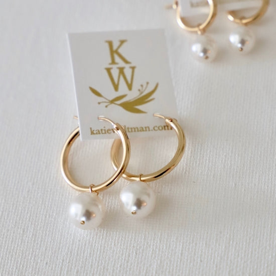 Katie Waltman Large Gold Hoop with Pearl Drop