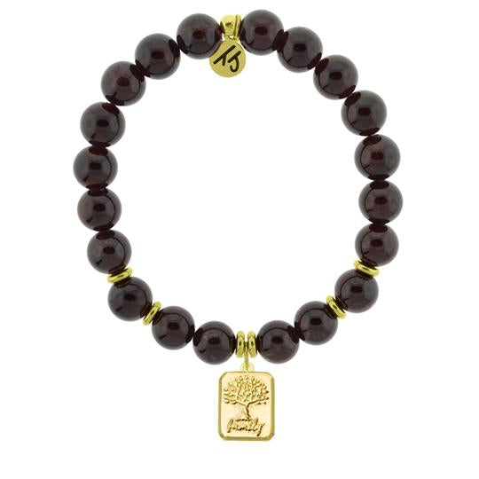 T. Jazelle Gold Collection - Garnet Stone Bracelet with Family Tree Gold Charm