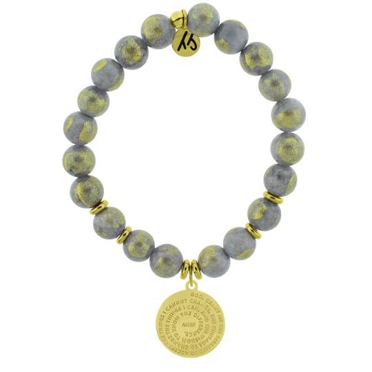T. Jazelle Gold Collection - Golden Grey Jade Stone Bracelet with Serenity Prayer Gold Charm
