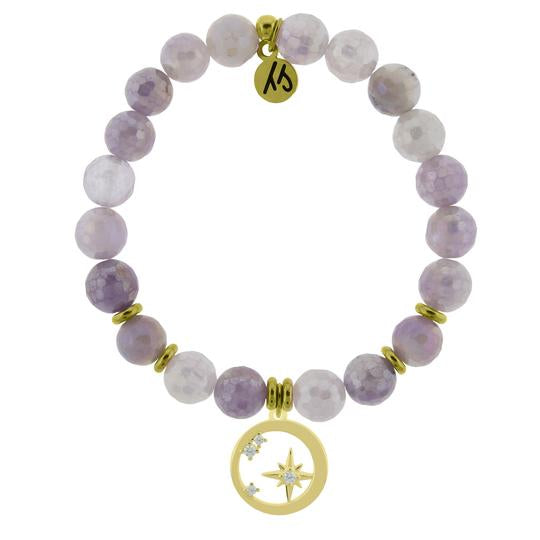 T. Jazelle Gold Collection - Mauve Jade Stone Bracelet with What is Meant to Be Gold Charm