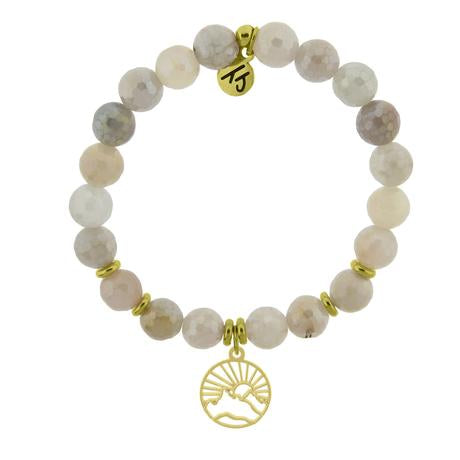 T. Jazelle Gold Collection - Moonstone Stone Bracelet with Sunrise Gold Charm