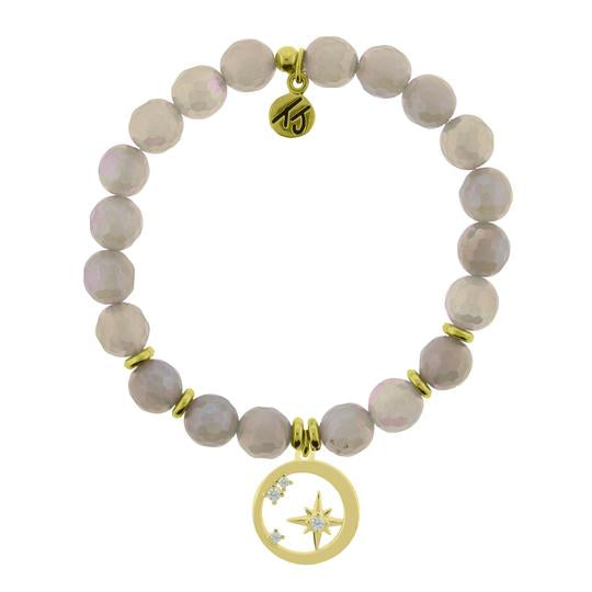 T. Jazelle Gold Collection - Mystic Grey Agate Stone Bracelet with What is Meant to Be Gold Charm