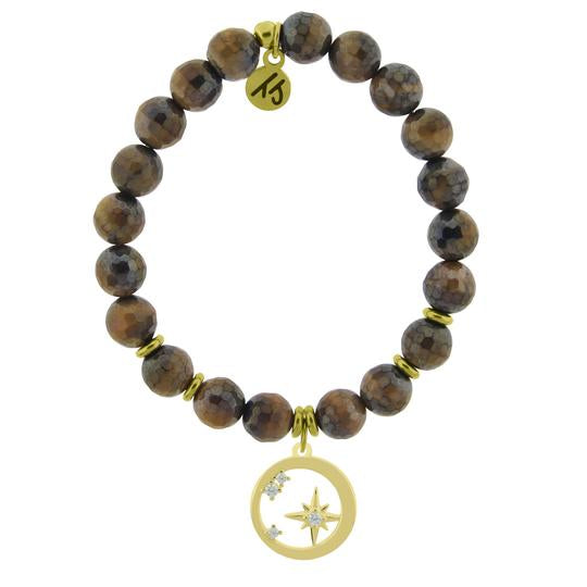 T. Jazelle Gold Collection -Tigers Eye Stone Bracelet with What is Meant to Be Gold Charm