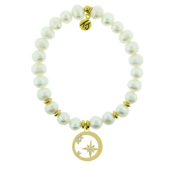 T. Jazelle Gold Collection -White Pearl Stone Bracelet with What is Meant to Be Gold Charm