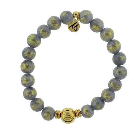 T. Jazelle Journey Wave Bracelet with Golden Grey Jade and Gold Wave Ball
