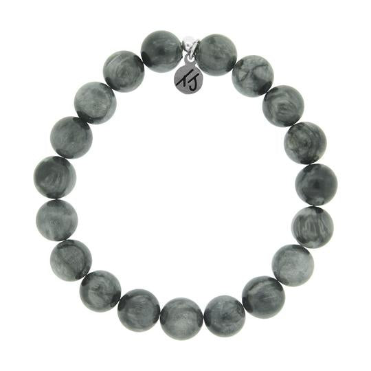 T. Jazelle Men's Noble Stone Bracelet Collection - Classic Grey Hawk Eye Men's Beaded Bracelet