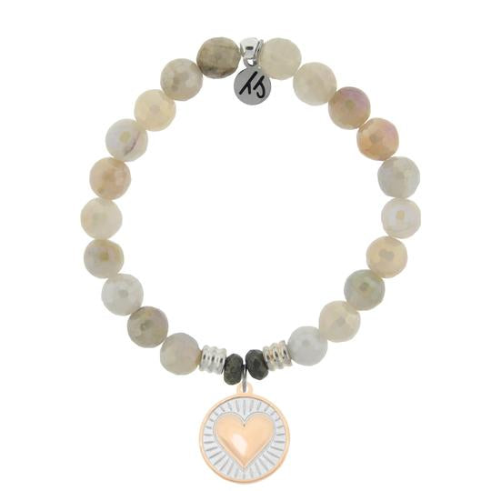 T. Jazelle Moonstone Bracelet with Heart of Gold Sterling Silver Charm