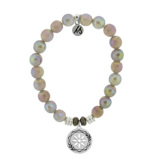 T. Jazelle Mystic Grey Agate Stone Bracelet with Thank You Sterling Silver Charm