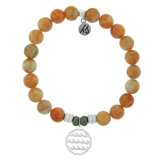 T. Jazelle Orange Calcite Stone Bracelet with Waves of Life Sterling Silver Charm