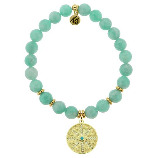 T. Jazelle Gold Collection - Peruvian Amazonite Stone Bracelet with Protection Gold Charm