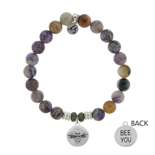T. Jazelle Sage Amethyst Agate Stone Bracelet with Bee You Sterling Silver Charm