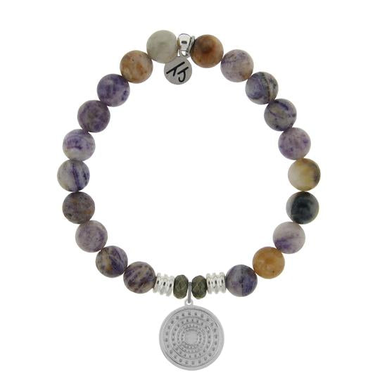 T. Jazelle Sage Amethyst Agate Stone Bracelet with Family Circle Sterling Silver Charm