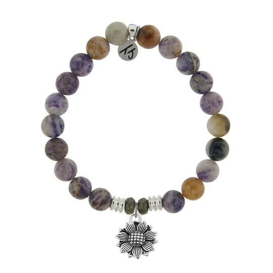 T. Jazelle Sage Amethyst Agate Stone Bracelet with Sunflower Sterling Silver Charm