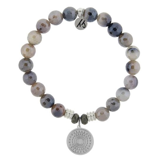 T. Jazelle Storm Agate Stone Bracelet with Family Circle Sterling Silver Charm