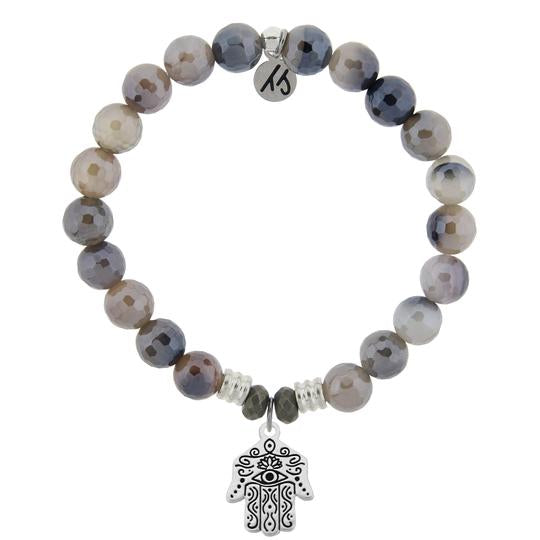 T. Jazelle Storm Agate Stone Bracelet with Hand of God Sterling Silver Charm