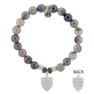 T. Jazelle Storm Agate Stone Bracelet with Shield of Strength Sterling Silver Charm