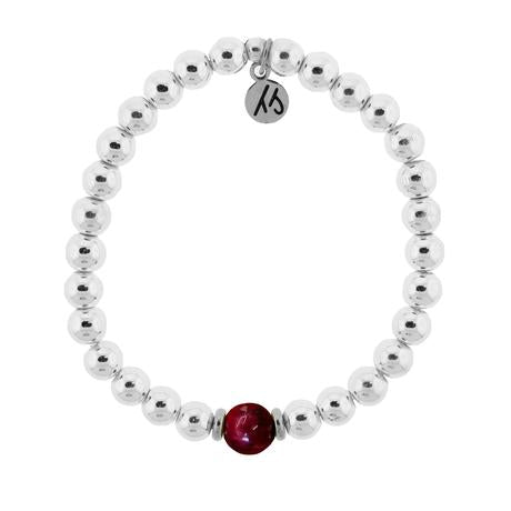 T. Jazelle The Cape Bracelet - Silver Steel with Thulite Ball