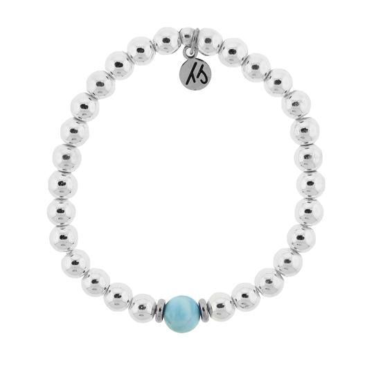 T. Jazelle The Cape Bracelet - Stainless Steel with Larimar Ball