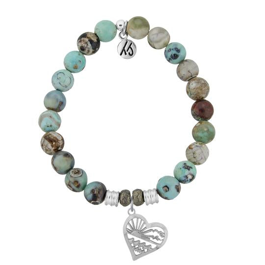 T. Jazelle Turquoise Jasper Stone Bracelet with Seas the Day Sterling Silver Charm