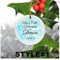 Baby Boy's First Christmas Ceramic Ornament-Home Decor-LTM Endeavors Gifts