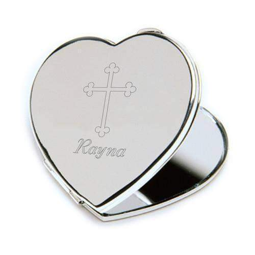 Compact Mirror w/Engraved Cross-Her-LTM Endeavors Gifts